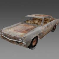 Low Poly Rusty Car Game Model for FPSC